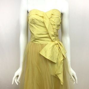 Vintage Prom Dress Yellow Strapless Gown Sz Small